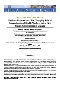 The Changing Role of Paraprofessional Health ...