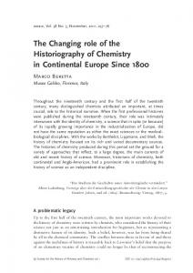 The Changing role of the Historiography of Chemistry in Continental ...