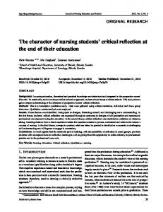 The character of nursing students' critical reflection at ... - Sciedu Press