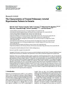 The Characteristics of Treated Pulmonary Arterial Hypertension ...