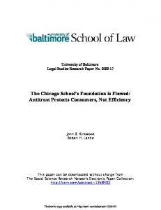 The Chicago School's Foundation is Flawed: Antitrust ... - SSRN papers