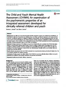 The Child and Youth Mental Health Assessment (ChYMH) - TSpace