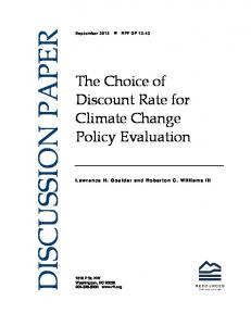 The Choice of Discount Rate for Climate Change Policy Evaluation
