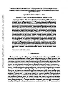 The classical Generalized Constant Coupling method for ...
