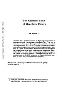 The Classical Limit of Quantum Theory