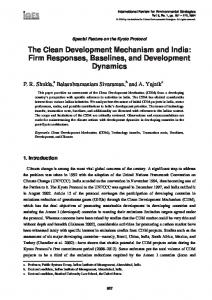 The Clean Development Mechanism and India - (IGES) Publications