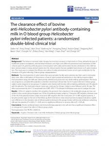 The clearance effect of bovine anti-Helicobacter pylori antibody ...