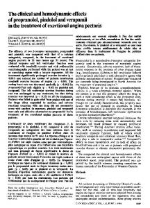 The clinical and hemodynamic effects of propranolol ... - NCBI
