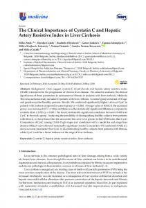 The Clinical Importance of Cystatin C and Hepatic Artery ... - MDPI