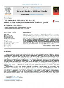 The closed-form solution of the reduced Fokker ...