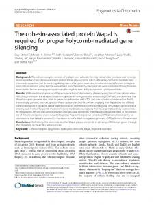 The cohesin-associated protein Wapal is required for proper ... - bcb bcb