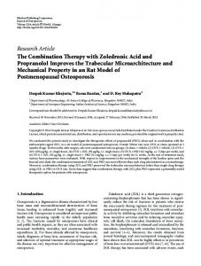 The Combination Therapy with Zoledronic Acid and Propranolol ...