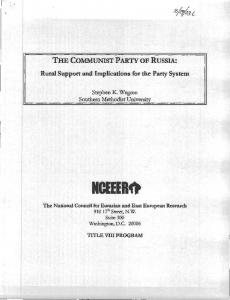 The Communist Party of Russia - University Center for International ...