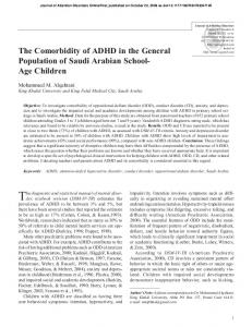 The Comorbidity of ADHD in the General Population ... - SAGE Journals