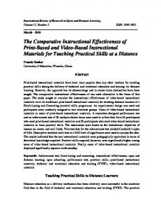 The Comparative Instructional Effectiveness of Print-Based and Video ...