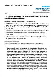 The Comparative Life Cycle Assessment of Power Generation ... - MDPI
