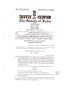 The Competition Act, 2002 - Ministry Of Corporate Affairs