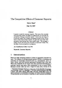 The Competitive Effects of Consumer Boycotts - CiteSeerX