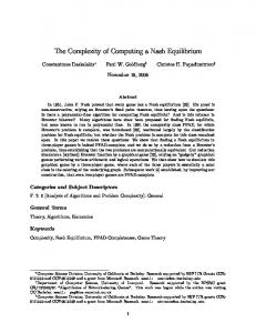 The Complexity of Computing a Nash Equilibrium - CiteSeerX