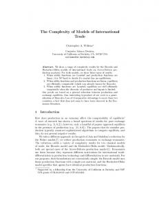 The Complexity of Models of International Trade