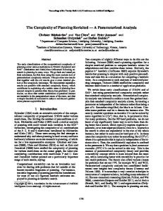 The Complexity of Planning Revisited â•fl A Parameterized Analysis