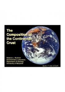 The Composition of the Continental Crust The Composition of the ...