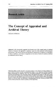 The Concept of Appraisal and Archival Theory - The American Archivist
