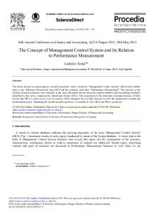 The Concept of Management Control System and Its ... - Science Direct