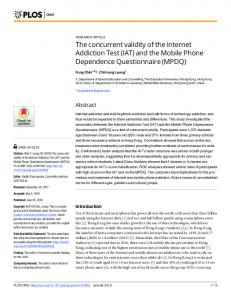 The concurrent validity of the Internet Addiction Test (IAT) - PLOS