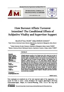 The Conditional Effects of Subjective Vitality and Supervisor Support