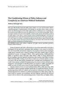 The Conditioning Effects of Policy Salience and Complexity on ...