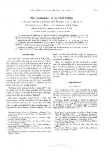 The Conductance of the Alkali Halides