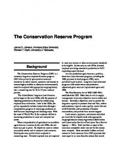 The Conservation Reserve Program - Agricultural and Food Policy ...
