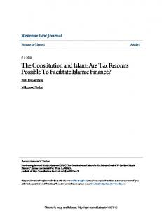 The Constitution and Islam: Are Tax Reforms Possible ... - SSRN papers