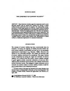 The Construct of Content Validity | SpringerLink