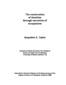 The construction of identities through narratives of occupations