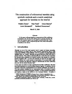 The construction of orthonormal wavelets using symbolic methods and ...