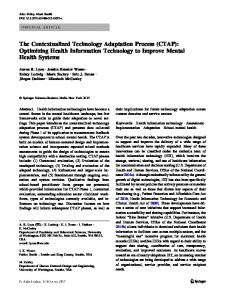 The Contextualized Technology Adaptation Process - Springer Link