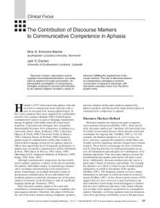 The Contribution of Discourse Markers to Communicative