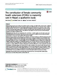 The contribution of female community health volunteers ... - CORE