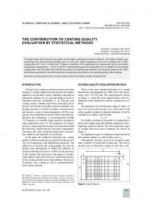 the contribution to coating quality evaluation by statistical methods