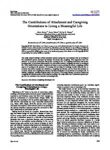 The Contributions of Attachment and Caregiving Orientations to Living ...