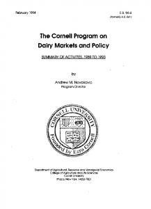 The Cornell Program on Dairy Markets and Policy - Cornell University