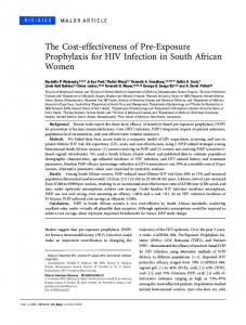 The Cost-effectiveness of Pre-Exposure Prophylaxis for HIV Infection ...