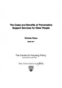 The Costs and Benefits of Preventative Support Services for Older ...