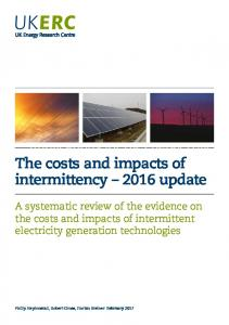 The Costs and Impacts of Intermittency - ukerc