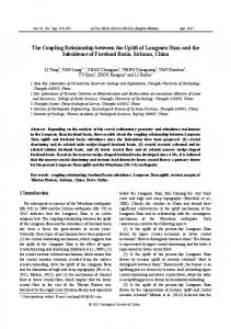 The Coupling Relationship between the Uplift of ... - Wiley Online Library
