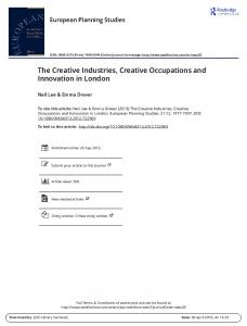 The Creative Industries, Creative Occupations and ...