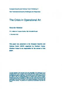 The Crisis in Operational Art - Chatham House