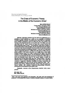 The Crisis of Economic Theory in the Middle of the Economic Crisis*